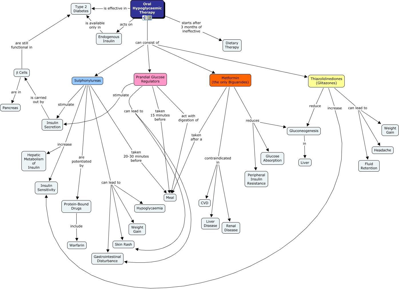 Diabetes Oral Hypoglycaemic Therapy - Oral map
